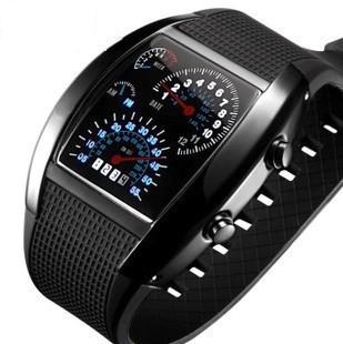 Спортивные, светодиодные, электронные часы, в виде спидометра, с голубой подсветкой