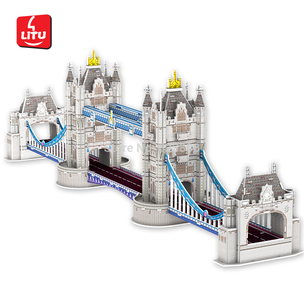LITU 3D PUZZLE/JIGSAW PUZZLE/EDUCATIONAL_world's famous landmark / architecture / building_London Bridge Style No.1221(China (Mainland))