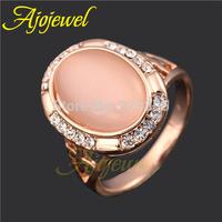 Size7 & 8 Latest designer ring jewelry 18k rose gold plated elegant rhinestones beige stone opal ring women