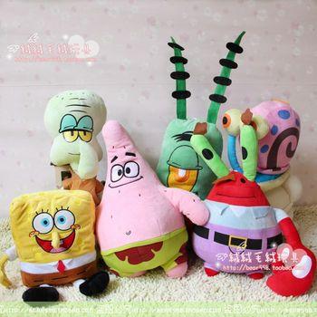 Free Shipping Sponge Bob Patrick Star 6 style Spongebob Catoon Plush Soft Toys For Children 6pcs/lot