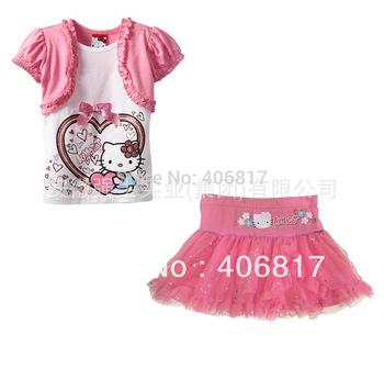 Big Promotion Girls' Clothing Cartoon Hello Kitty Suits,Short Sleeves T-shirt+ Flower Print Glitter Sequins Tutu Mini Skirt Set