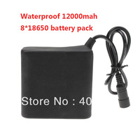 High Capacity Waterproof Max 12000mah 8*18650 Battery Set For LED Bicycle Lights With Magic Bag+ Free shipping