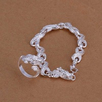 Free Shipping Wholesale 925 Sterling Silver Jewelry Sets,925 Silver Fashion Jewelry,White Dragon Bracelet&Ring SMTS094