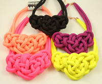 Retail & Wholesale Candy Colorful knot arty rope choker neon necklace Full 16 colors neon color necklace free shipping