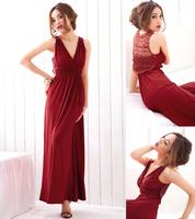 Free Shipping Bohemia style full summer dress cutout V-neck beach dress fashion one-piece dress