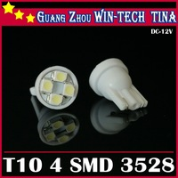 Free Shipping 50pcs T10 194 168 192 White/Blue Color 4 SMD 3528 LED car light bulb Wedge car light