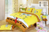 Spongebob queen bedding/Kids queen size bedding sheets/Free Shipping  /Comforter set/Duvet cover set/bed sets 100 cotton