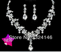 Own factory made clear crystal bridal jewelry sets fashion cheap Wedding jewelry set necklace set accessories
