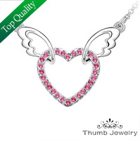JS N014 Angel Wings Jewelry White Gold Plated Necklaces & Pendants Gifts Sales Promotion Womens Necklace Fashion 2014