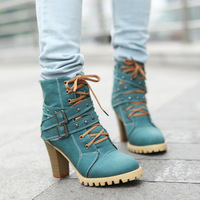2014 New fashion sexy female ladies platform high heel ankle motorcycle boots for women, winter boots and woman shoes