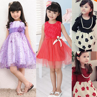 Retail new 2013 summer girls dress princess children dress Dots Bow Dress size for 3-7 years color pink purple blue Vest Dress