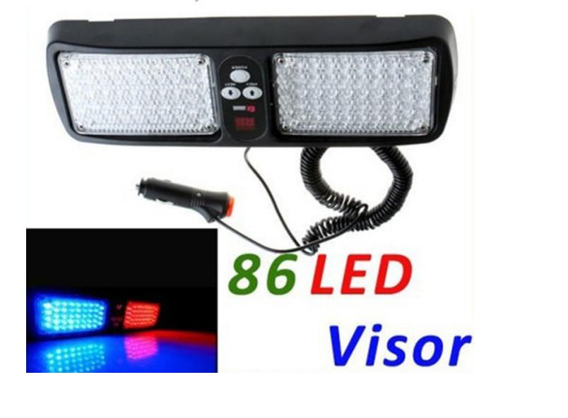 Super Bright 86 LED Car Truck Visor Strobe Flash Light Panel, warning lighting,4 colors choice,free shipping Wholesale(China (Mainland))