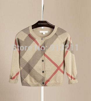 New Arrival 2014 Brand Baby Girls Autumn Casual Sweater Children Clothing Plaid cardigan Girls