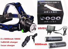 CREE XM - L T6 XML 1800-2000 lúmenes linterna del faro de luz de la lámpara de la linterna Jefe + 2 * 6000mAh 18650 + AC + Car Charger(China (Mainland))