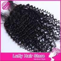 "Luffy Hair Promotion Mongolian Kinky Curly Closure Virgin Human Hair 4""*4"" lace Closure Hot Sale"