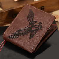 Wallet 2014 New Arrivel!Fashion Eagle Mens Bifold Clutch Leather Wallet Purse New Design Wallet Zipper Coffee Free Shipping M01