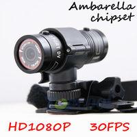Action sport mini camera Mini F9 Ambarella Chip HD1080P 30FPS Bike Mount Helmet Bracket Camera+3m Car Holder + 120 Degree +H.264