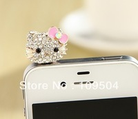 NEW Rhinestone Crystal Hello Kitty Dust Proof Plug Cap Cat Earphone Jack For IPhone Cell Phone Mobile Free Shipping ZO01