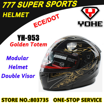 DOT&ECE Motorcycle One Button Flip up helmets With Double Visors Built-In Airbag Pump Yohe YH953