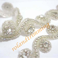 free shiipping 2014 new bling rhinestone beaded bridal trims lace for dresses  RAY46-trim