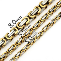 Customized 5/6/8mm Mens Boys Chain Necklace Gold /Black Silver Tone Byzantine Box Necklace Stainless Steel Necklace Chain  KNM20