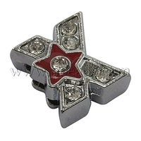 Initial Silde Beads,  Alloy Rhinestone Beads,  Letter X,  Platinum Color,  about 12mm long,  11.5mm wide,  6mm thick