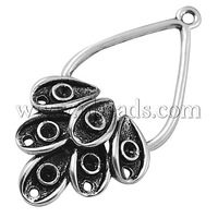 Cabochon Connector Settings,  Lead Free and Cadmium Free,  Alloy,  Drop,  Antique Silver,  42x21.5x4mm,  Hole: 1.5mm