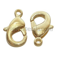 Brass Lobster Claw Clasps,  Nickel Free,  Golden,  about  7mm wide,  12mm long,  hole: 1.2mm