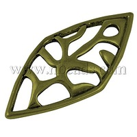 Alloy Pendants,  Rhombus,  Antique Bronze,  40mm long,  18mm wide,  4mm thick