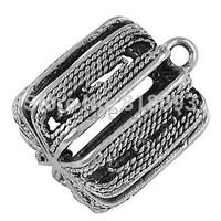 Brass Pendants,  Bag,  Platinum Color,  about 13mm long,  13mm thick,  hole: 1.5mm