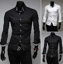 Grátis frete homens chegada novo manga comprida , camisas Turn down Collar Casual Slim Fit camisas para os homens 5006(China (Mainland))