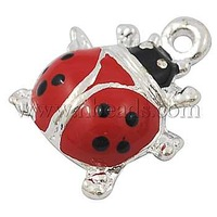 Alloy Enamel Charms,  Ladybug,  Red,  about 16mm long,  14mm wide,  4mm thick,  hole: 1mm