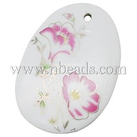 Handmade Porcelain Pendants,  Ornamental with Gold,  Oval,  Violet,  Size: about 59mm long,  42mm wide,  5mm thick