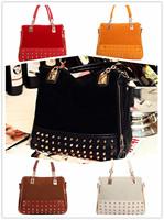 2014 New handbags designers brand women messenger bags faux leather casual women handbag vintage satchel bag lint rivet style