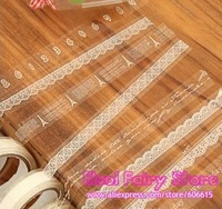Wholesale Lace Design Lovely Small Size Decoration Tape, white Lace Tape (30pcs)  Free Shipping