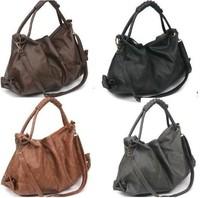 Korean Style Vintage Oil Leather Handbags Shoulder Bags Fashion 2013 Tote Sac Bolsas Women Louis PU Leather Travel Bag  A10