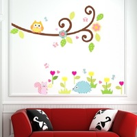 Colorful Owl Tree Branch Kids Nursery Room Art Mural Wall Sticker Decal
