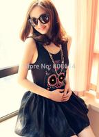 New Womens European Fashion Flower Skull Sleeveless Shirt 2 Colors  One Size Free Shipping