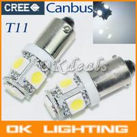 10PCS T11 BA9S T4W H6W 363 White 5 LED 5050 SMD Car Wedge Side Light Lamp Bulb 12V