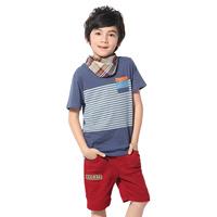 Free Shipping 13 - 31554 hot 2014 fashion child boy patchwork stripe short-sleeve fashion t-shirt