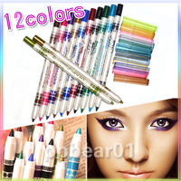 12 Color Glitter Lip liner Eye Shadow Eyeliner Pencil Pen Cosmetic Makeup Set[200510 ]