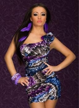 M XXL Plus Size 2014 New Fashion Women One Shoulder Feather Printed Dress Bodycon Casual Dress 4139