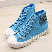 Free Shipping Huanqiu Global fashion rivet skull Women high top canvas shoes lacing shoes fashion colorant