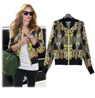 2014 New Women's Jacket Fashion All-Martch Zipper Long-sleeved Thin Coats Print Chiffon Outerwear -Within 12 Hours Delivery