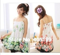 HK Post! Women Sexy Elastic Waist Tunic Chiffon Casual Blouse Floral Prints Strap Dress #1062