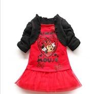 5pcs 2014 New girls Minnie Mouse dresses girl princess two-piece shawl dress red and pink cartoon MINI fashion free shipping