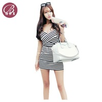 wholesale women's summer new arrival sexy mini dress stripe dew backpack hip club dresses free shipping