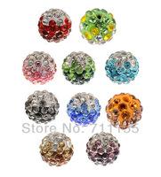 Free Shipping,10mm Gradient Shamballa Beads,2 Two Tone Shamballa crystal Beads,Can Mix Colors,60pcs/lot,Good Quality