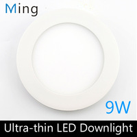 New Ultra thin design 6 inch 9W LED ceiling recessed downlight / round panel light, 130mm hole, 10pc/lot free shipping