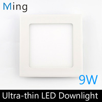 Ultra thin design 9W LED ceiling recessed grid downlight / square panel light 145mm, 10pc/lot free shipping